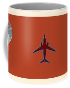 Plane In The Sky  Along With The Moon 4 Coffee Mug