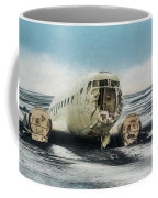 Painted Effect - Plane On Solheimasandur Beach Coffee Mug by Susan Leonard