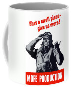 Plane Production Give Us More Coffee Mug by War Is Hell Store