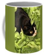 Playful Tuxedo Kitty In Green Tissue Paper Coffee Mug