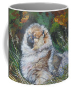 Pomeranian Puppy Autumn Leaves Coffee Mug
