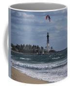 Pompano Beach Kiteboarder Hillsboro Lighthouse Catching Major Air Coffee Mug