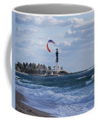 Pompano Beach Kiteboarder Hillsboro Lighthouse Coffee Mug