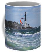 Pompano Beach Kiteboarder Hillsboro Lighthouse Waves Coffee Mug