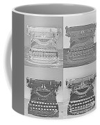 Pop Art Typewriter Collage Black And White Coffee Mug