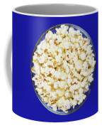 Popcorn In Glass Bowl On Blue Background Coffee Mug