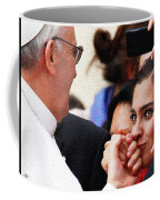 Pope Francis And Woman Painting  Coffee Mug