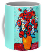 Poppies And Daisies Bouquet Coffee Mug