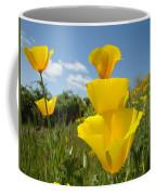 Poppy Flower Meadow 7 Poppies Blue Sky Artwork Baslee Troutman Coffee Mug