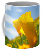 Poppy Flowers Meadow 3 Sunny Day Art Blue Sky Landscape Coffee Mug