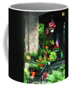 Porch With Geraniums And American Flags Coffee Mug