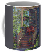 Porch With Red Wicker Chairs Coffee Mug