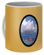 Porthole View Of Container Cranes Coffee Mug