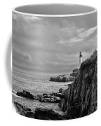 Portland Head Lighthouse - Cape Elizabeth Maine In Black And White Coffee Mug