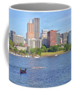 Portland Oregon Skyline And Rowing Boats. Coffee Mug