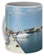 Porto Carras Harbor With Yacht And Resort Coffee Mug