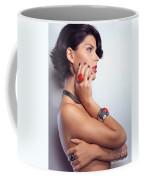 Portrait Of A Beautiful Woman Wearing Jewellery Coffee Mug