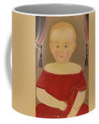 Portrait Of A Blonde Boy With Red Dress With Whip Coffee Mug
