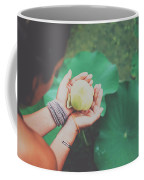 Portrait Of A Girl Holding Gently A Lotus Flower In Her Hands Coffee Mug