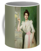 Portrait Of A Lady Holding A Fan Coffee Mug by Jules-Charles Aviat
