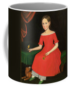 Portrait Of A Winsome Young Girl In Red With Green Slippers Dog And Bird Coffee Mug