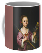 Portrait Of A Young Girl As A Shepherdess Holding A Sprig Of Flowers Coffee Mug