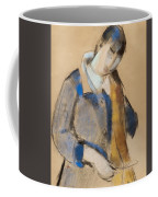 Portrait Of A Young Woman Combing Her Hair Coffee Mug