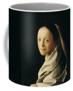 Portrait Of A Young Woman Coffee Mug by Jan Vermeer