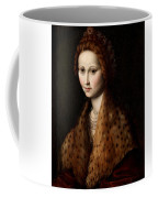 Portrait Of A Young Woman Wearing A Robe With A Fur Collar Coffee Mug