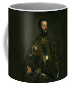 Portrait Of Alfonso D'avalon -  Marquis Of Vasto - In Armor With A Page Coffee Mug