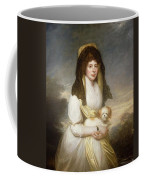 Portrait Of Queen Charlotte Three-quarter Length In A White Dress A Yellow Shawl And Black Mantilla Holding A Maltese Dog Sir Henry William Beechey Coffee Mug
