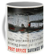 Post Office Savings Bank - Steamliner - Retro Travel Poster - Vintage Poster Coffee Mug