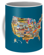 Postcards Of The United States Vintage Usa All 50 States Map Coffee Mug
