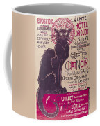 Poster Advertising An Exhibition Of The Collection Du Chat Noir Cabaret Coffee Mug by Theophile Alexandre Steinlen