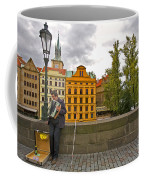 Prague Accordian Player On Charles Bridge Coffee Mug