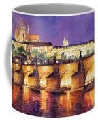 Prague Night Panorama Charles Bridge  Coffee Mug