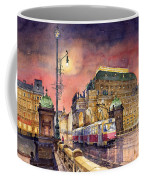 Prague  Night Tram National Theatre Coffee Mug