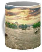 Prague River Panorama From Charles Bridge Coffee Mug by Leigh Kemp