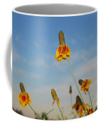 Prairie Cone Flowers Against Blue Sky Horizontal Number Three Coffee Mug