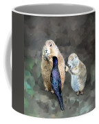 Prairie Dogs And A Bird Eating Coffee Mug