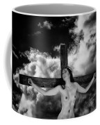 Praying On Cross Coffee Mug
