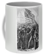 President Lincoln Holding The American Flag Coffee Mug