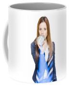 Pretty Business Woman Talking On Tin Can Phone Coffee Mug