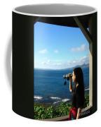 Pretty Girl Looking Through Binoculars Coffee Mug