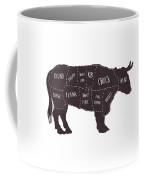 Primitive Butcher Shop Beef Cuts Chart T-shirt Coffee Mug by Edward Fielding