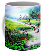 Artistic Painting Photo Flying Bird Handmade Painted Village Art Photo Coffee Mug