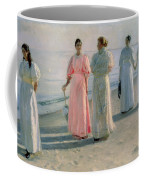 Promenade On The Beach Coffee Mug by Michael Peter Ancher