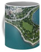 Promontory Point In Burnham Park In Chicago Aerial Photo Coffee Mug