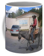 Prospector Re-enactor With Burro Passing Rose Bush Museum Sign Tombstone  Arizona 2004 Coffee Mug