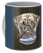 Pug Monacle Scarf Pipe Dogs In Clothes Coffee Mug